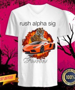 Funny Tigger And Lamborghini Rush Alpha Sig Forever V Neck