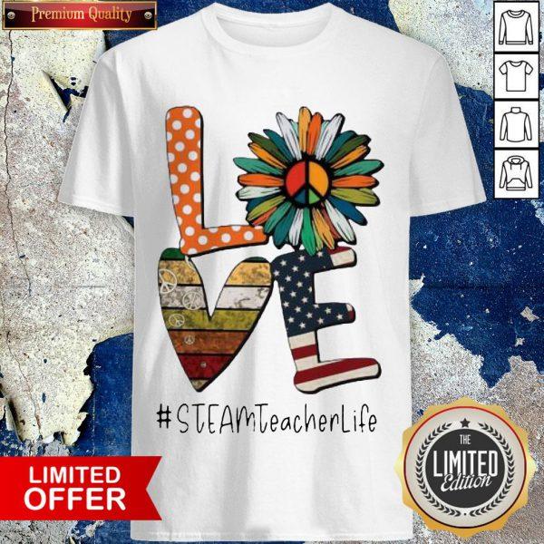 Love Steamteacherlife Peace Sunflower American Flag Shirt