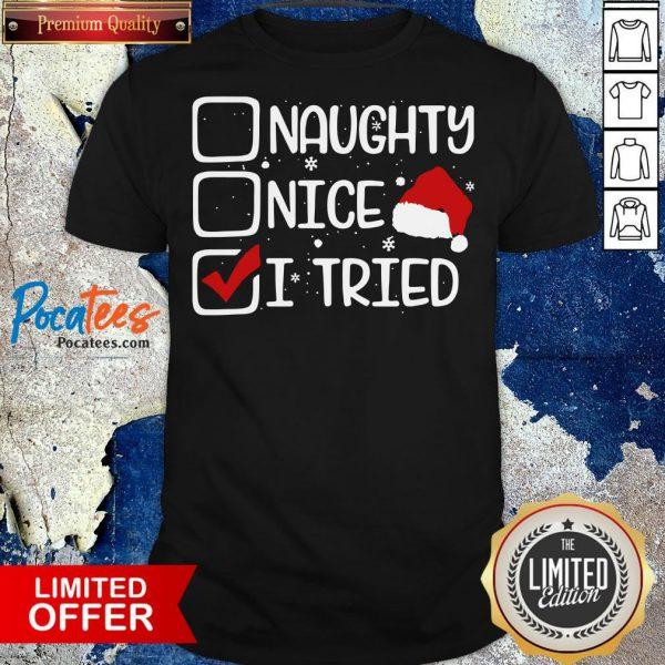 Nice Naughty Nice I Tried Christmas Shirt