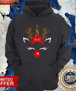 Nice Unicorn Face Reindeer Antlers Christmas Funny Pet Kids Gifts Hoodie