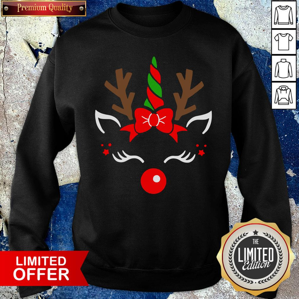 Nice Unicorn Face Reindeer Antlers Christmas Funny Pet Kids Gifts Sweatshirt