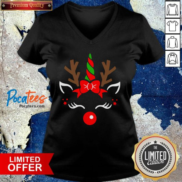 Nice Unicorn Face Reindeer Antlers Christmas Funny Pet Kids Gifts V-neck