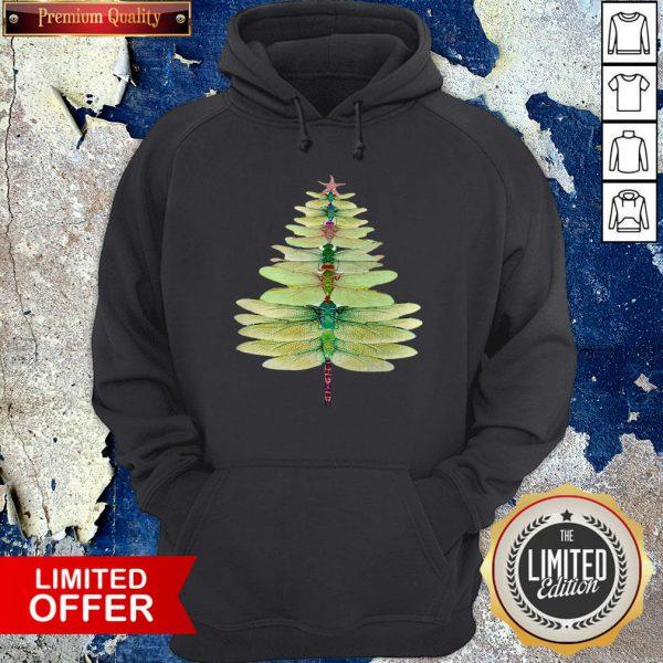 Premium Dragonfly Christmas Tree Print Hoodie