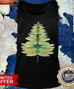 Premium Dragonfly Christmas Tree Print Tank Top