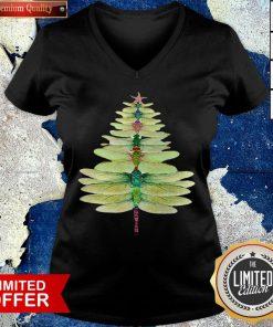Premium Dragonfly Christmas Tree Print V-neck