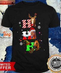 Ho Ho Ho Horses Santa Elf Reindeer Merry Christmas Light Shirt- Design By Pocatees.com