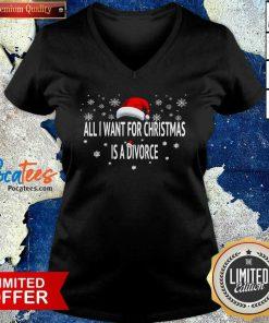 All I Want For Christmas Is A Divorce V-neck - Design By Pocatees.com