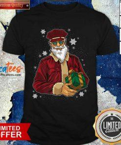 Cool Santa Police Officer Giving Gift On Xmas Santa Christmas Shirt- Design By Pocatees.com