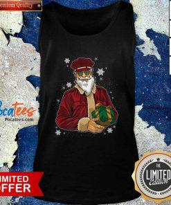 Cool Santa Police Officer Giving Gift On Xmas Santa Christmas Tank Top- Design By Pocatees.com