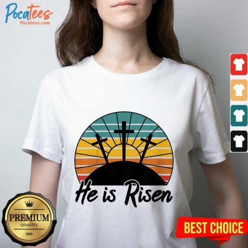 Hot 70s Retro He Is Risen Jesus Christian Cross Religious V-neck