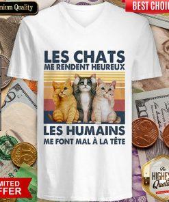 Top Cat Les Chats Me Rendent Heureux Les Humains V-Neck