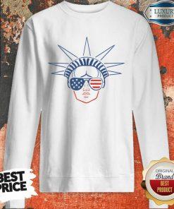 US Flag Statue Of Liberty Sunglasses Apparel July 4th Party Sweatshirt